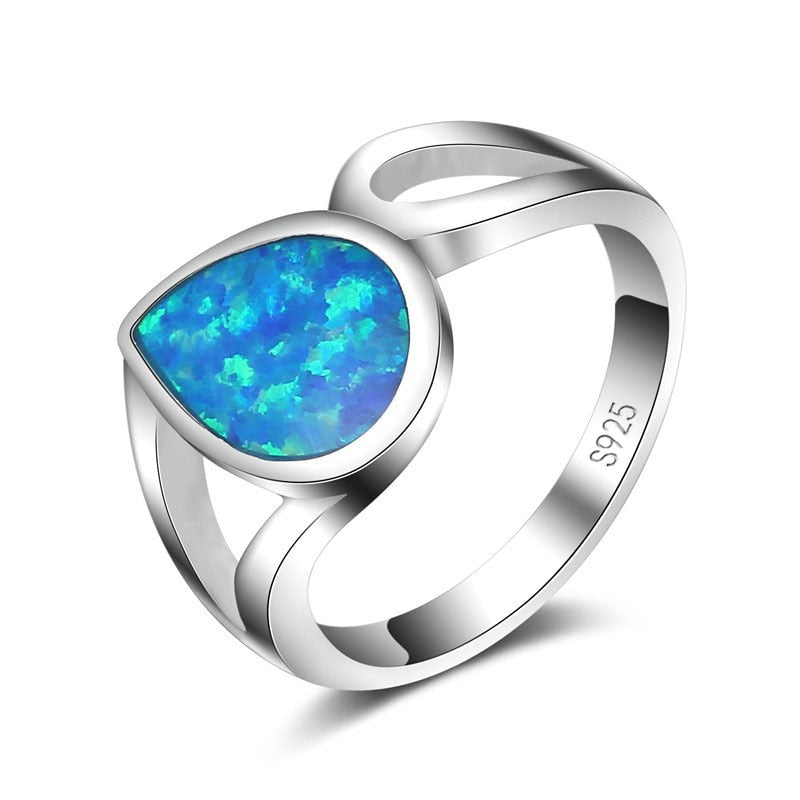 Water Drop Cut Opal Rings For Women Fashion Elements Wedding Jewelry 925 Sterling Silver Promise Engagement Rings