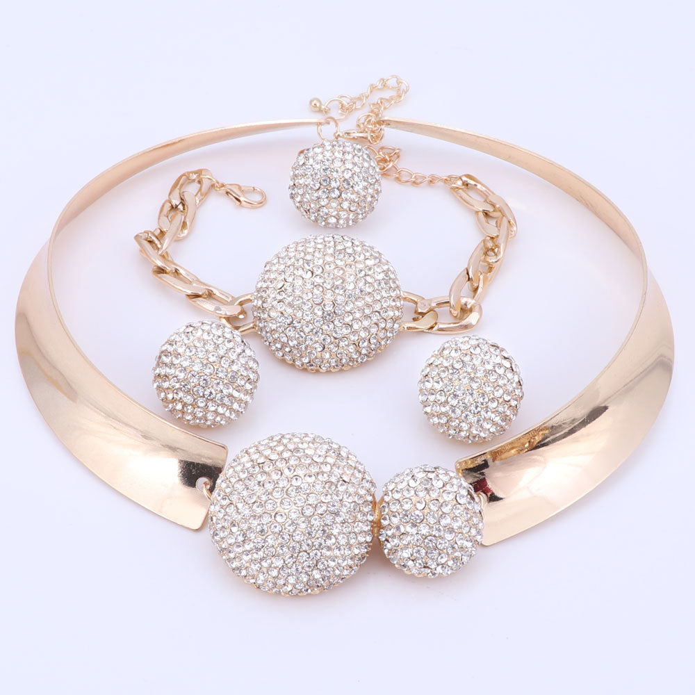 Jewelry Sets For Women Gold Color Wedding Party Bridal Accessories Necklace Earrings Set Fashion Crystal Pendant Costume
