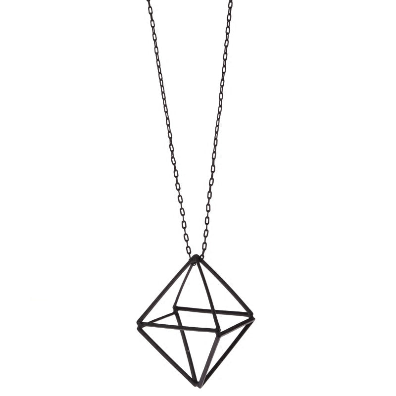 Jewelry, fine Fashion geometry line three-dimensional hollow triangle long sweater chain Send free necklace