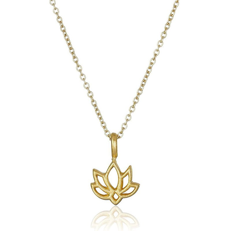 Jewelry gold silver plated Lotus simple short chain necklace for women
