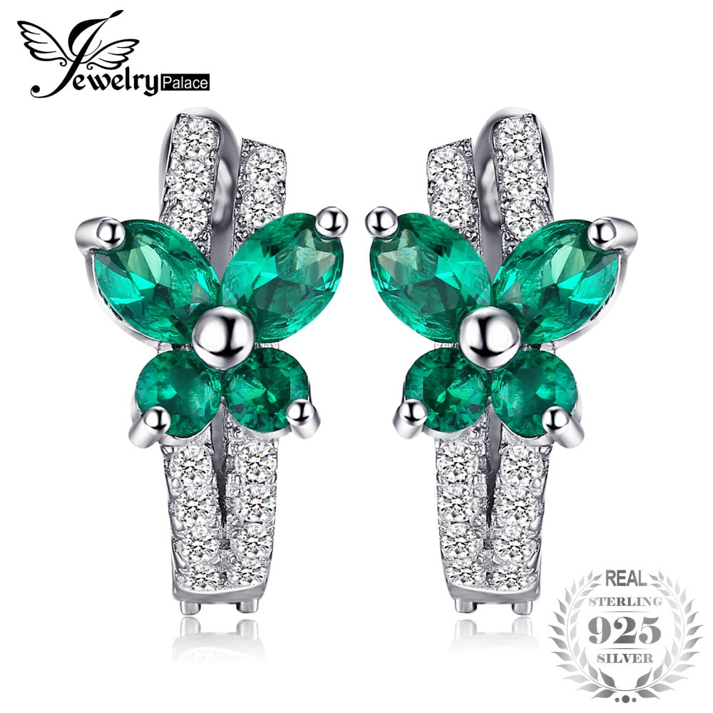 Butterfly 1ct Created Emerald Clip On Earrings Solid 925 Sterling Silver Jewelry Fashion Earring For Wedding Women