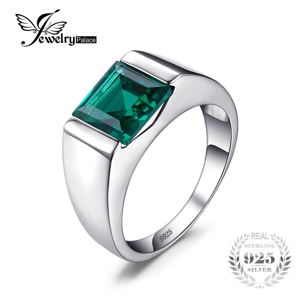 Classic Fashion 2.34ct Emerald Wedding Ring For Mens Set Genuine 925 Solid Sterling Sliver Fine Jewelry