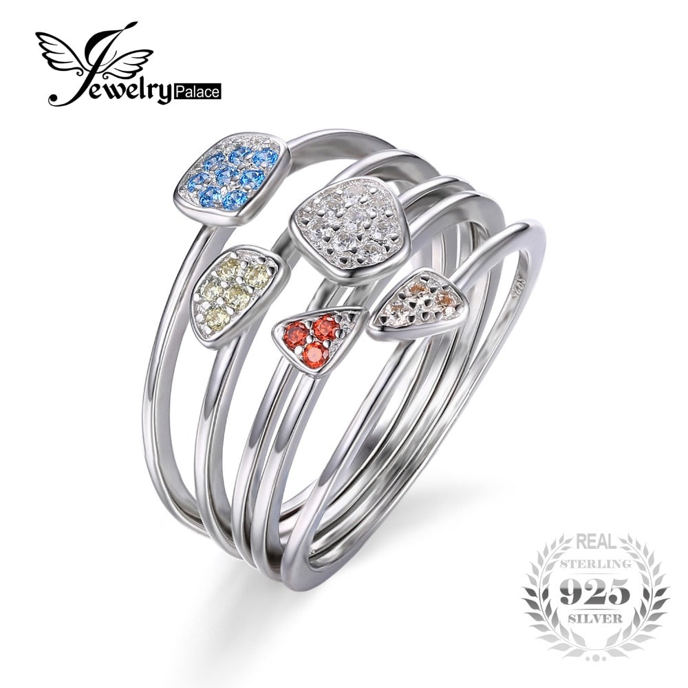 Fashion Multicolor 4Pcs Stackbale Ring Sets Solid 925 Sterling Silver Fine Jewelry For Women Gifts Hot Sale