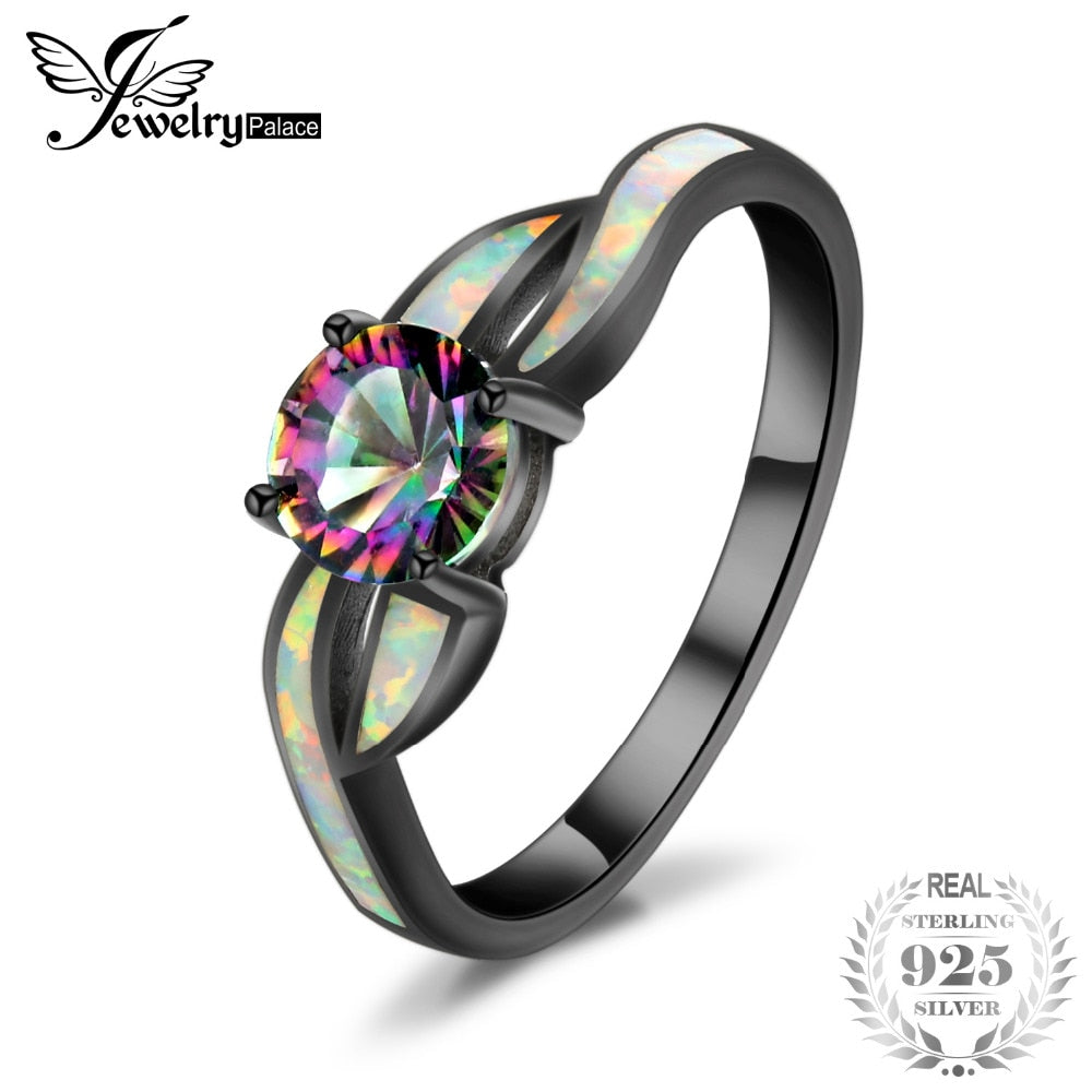 Fashion Mystic Quartz Created Opal Twisted Shank Ring 925 Sterling Silver gift for girlfriend birthd present