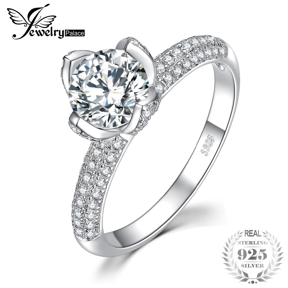 Flower 2 Row Pave 1.9ct Cubic Zirconia Solitaire Engagement Ring 925 Sterling Silver Beautiful 2020 New Hot