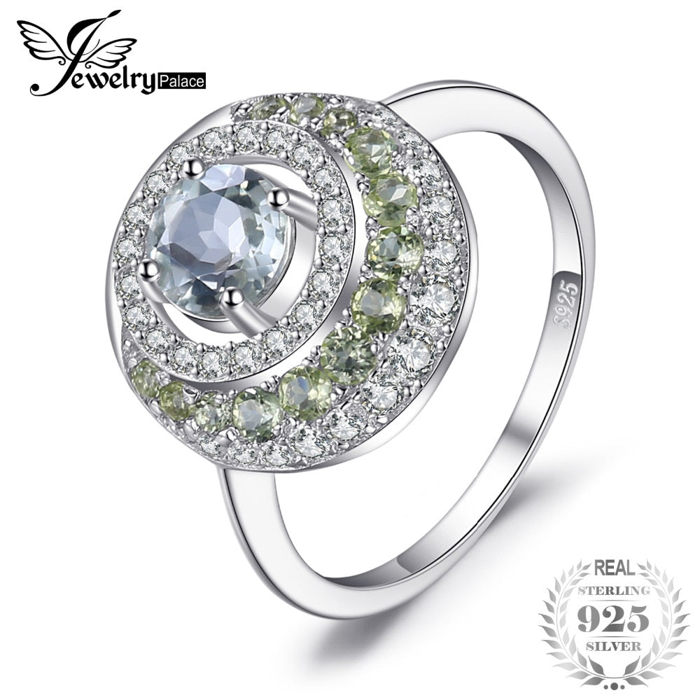 Genuine 1.4ct Green Amethyst Peridot Halo Ring 925 Sterling Silver Vintage Charm Fine Jewelry Fashion for women
