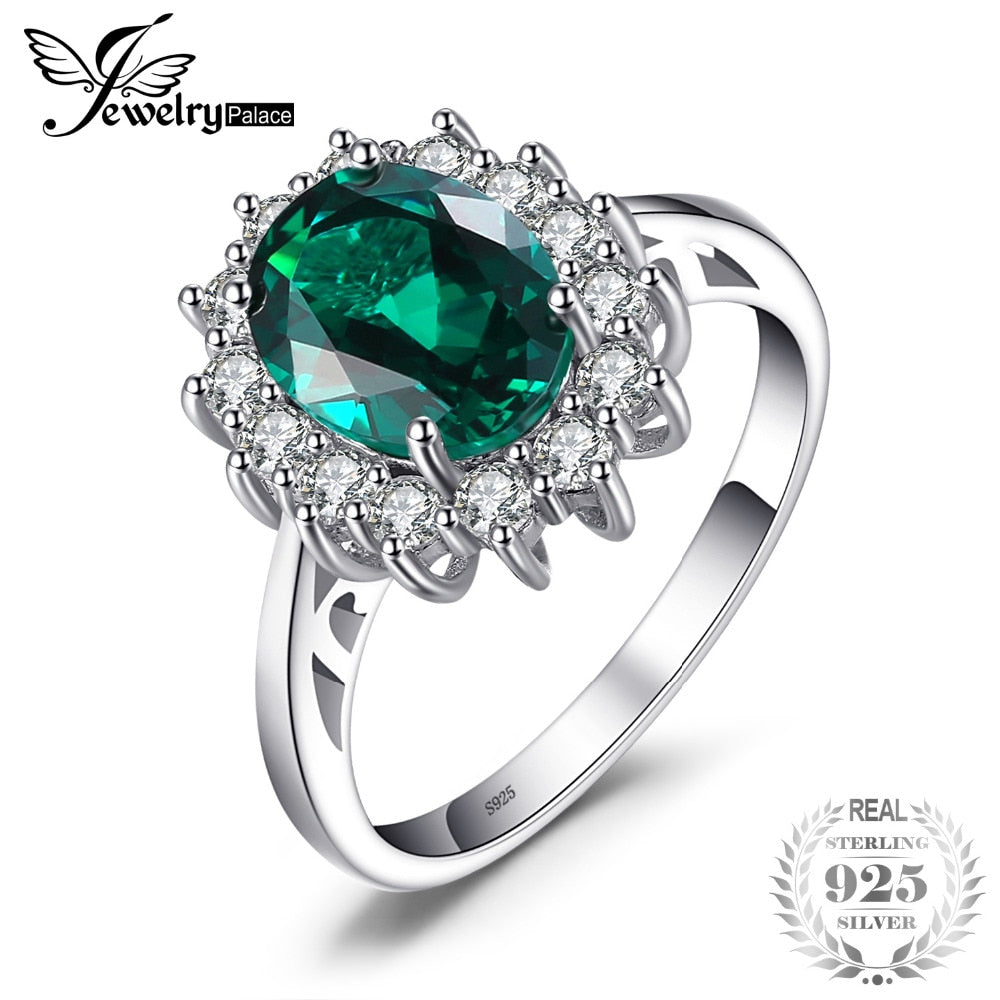 Green Emerald 925 Sterling Silver Fashion Princess Diana Engagement Wedding Ring For Women Solitaire