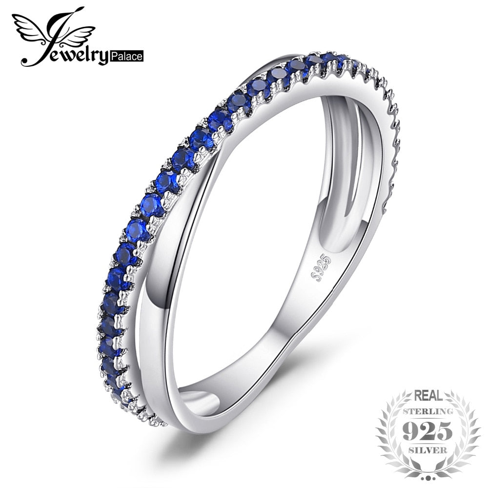Round 0.3 ct Created Blue Spinel Trendy Wedding Bands Rings For Women Real 925 Sterling Silver Anniversary Jewelry