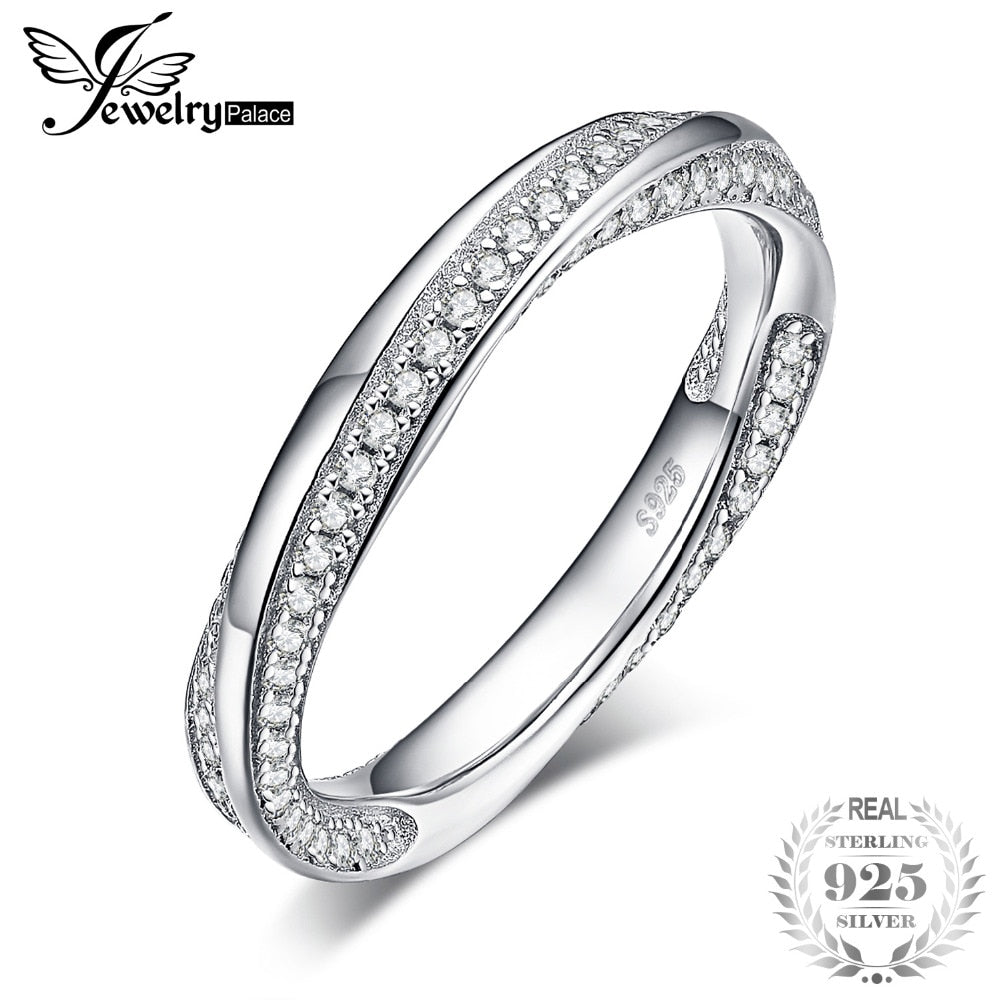 Twisted Promise Cubic Zirconia Wedding Band Enternity Ring 925 Sterling Silver For Mother And Daughter