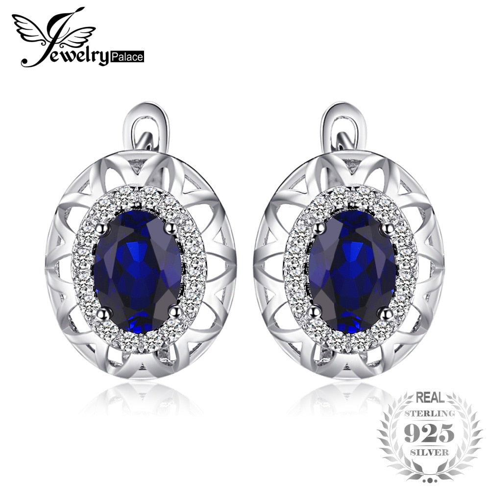 Unique Design 2.4ct Created Blue Sapphire Clip On Earrings 925 Sterling Silver Fine Jewelry Statement Earring