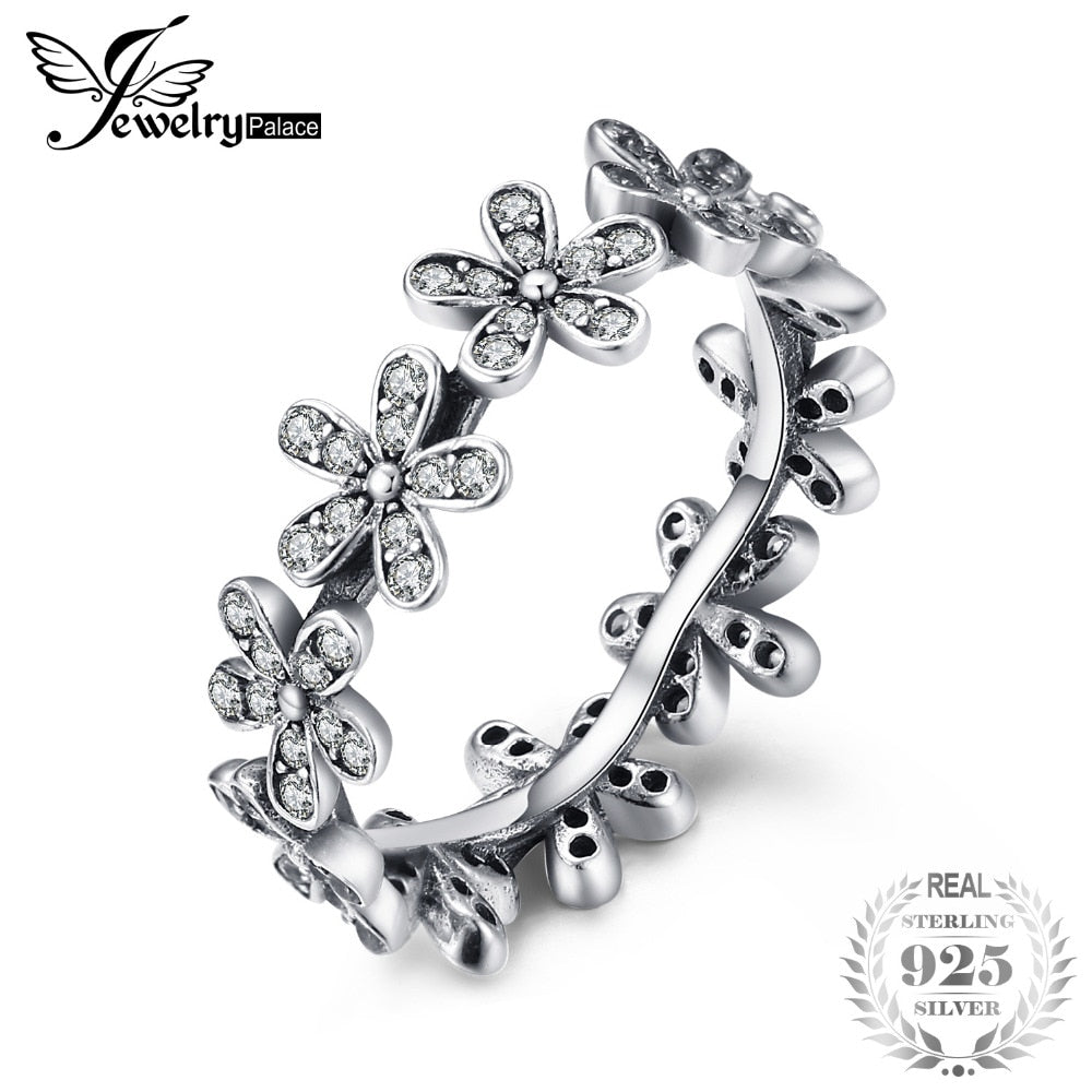 925 Sterling Silver Rings Band Daisy Flower Jungle Hoop Cubic Zirconia Ring Elegant Fashion Women Girls Gifts