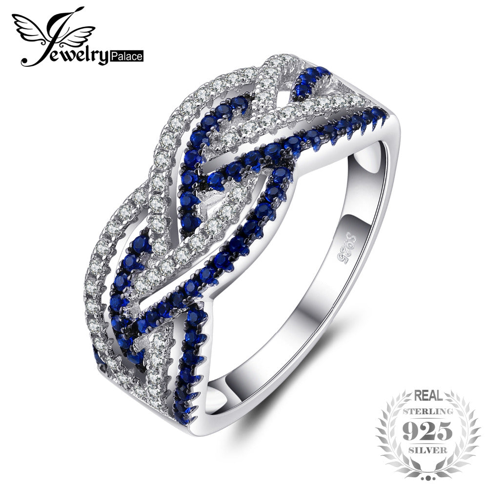 Infinity 0.2ct Created Blue Spinel Pave Ring 925 Sterling Silver Fashion Jewelry Gifts For Women Fashion Jewelry