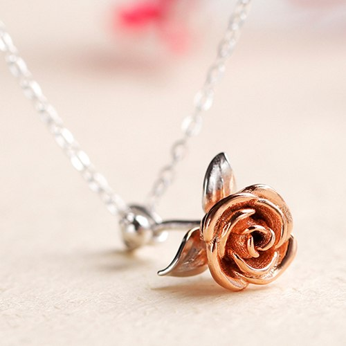Jewerly 925 Sterling Silver Rose Necklace Pendants Creative Charms Simple Women Birthd Gift Choker Chain Collier Femme Kolye