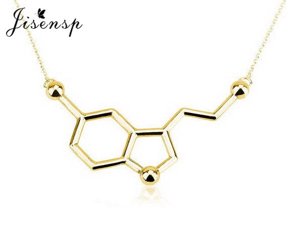 10pcs/lot New Serotonin Molecule Pendants Necklace For Women Cute Best Gift Wholesale Elegant Simple Necklace N012