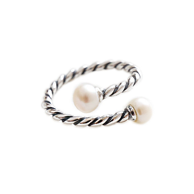 925 Sterling Silver Twist Double Pearl Open Rings For Women Vintage Adjustable Cuff Statement Ring bague