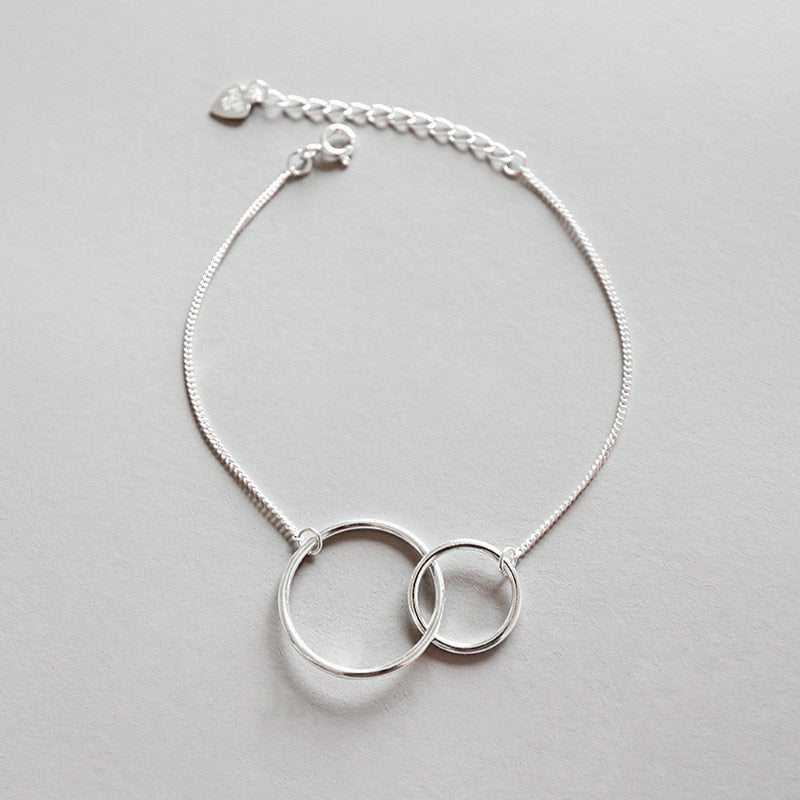 New Simple Geometric Double Circle Link Chain Bracelets & Bangles For Women Charms Bracelets Party Gifts
