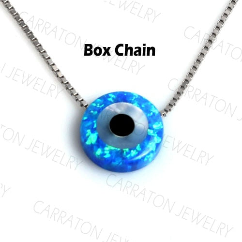 KALETINE 925 Sterling Silver Necklace Synthetic Opal Genuine Lucky Hamsa Evil Eye Charm Pendant Necklaces Woman Jewelry KLTN017