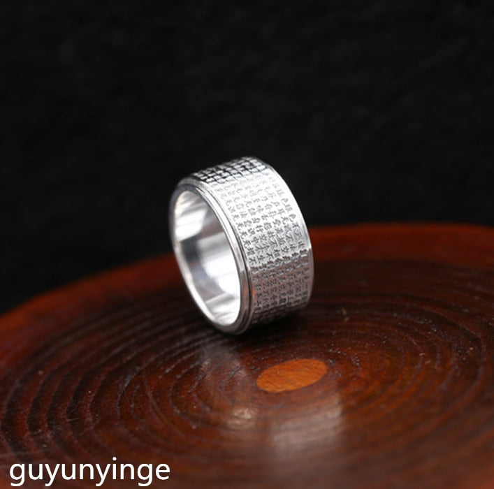 Boutique jewelry S999 pure silver ring, silver ring, time to run, man's index finger ring finger.