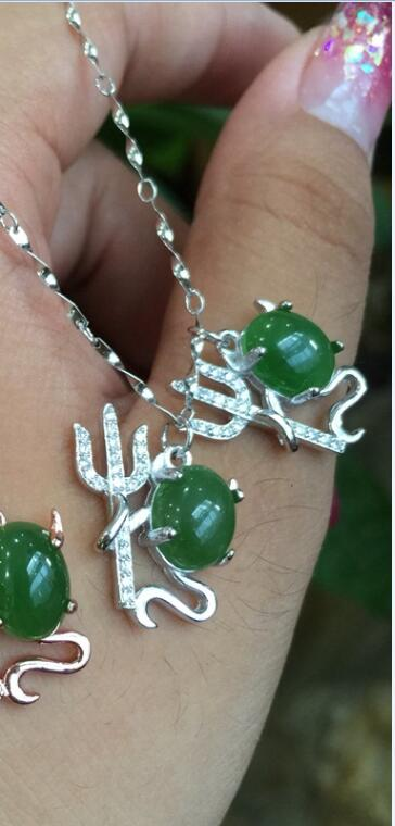 boutique jewelry,Small devil female pendant came to the natural Xinjiang Hetian jasper pendant 925 silver mosaic