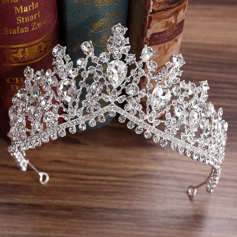 KMVEXO 2018 European Red Green Crystal Big Crown Headwear Bridal Wedding Hair Accessories Jewelry Bride Tiaras Princess Crowns