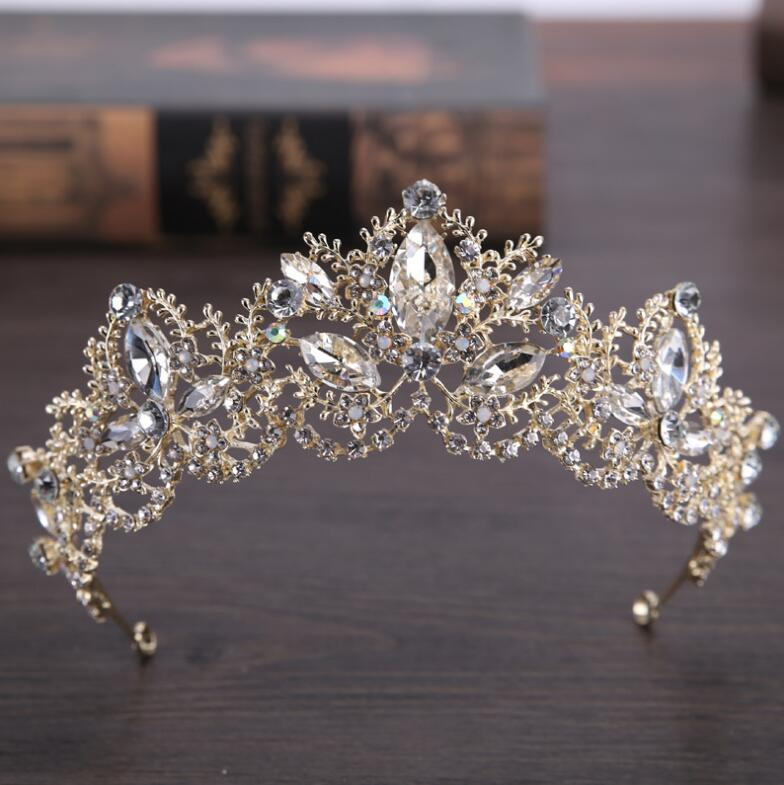 KMVEXO AB Color Rhinestone Tiaras Bridal Crown Headband Women Headpiece Wedding Hair Accessories Crystal Bride Hair Jewelry