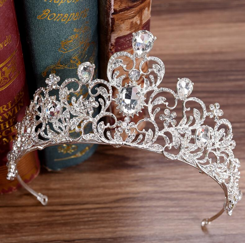 KMVEXO Red Green Crystal Wedding Crown Queen Tiara Bride Crown Headband Bridal Accessories Diadem Mariage Hair Jewelry Ornaments