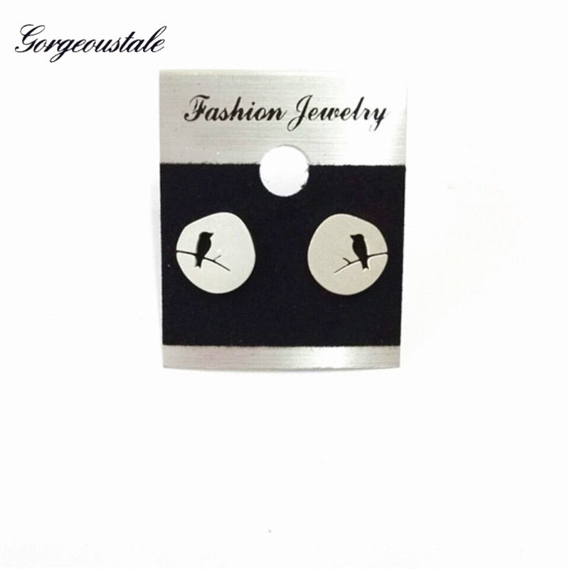Korean Gold Color Bird On Branch Earrings For Women Online Shopping India Stainless Steel Stud Earring Female Party Jewelry