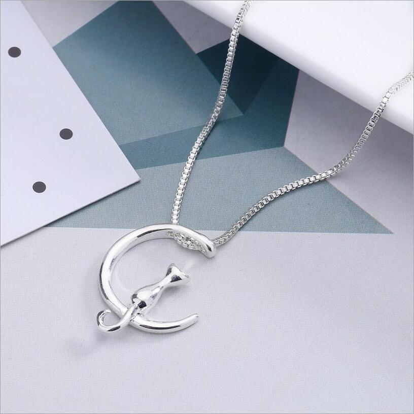 New Fashion Fine Jewelry Crescent Moon Cat Concise Metal Summer Necklaces & Pendant For Women Ladies' Gifts N-17