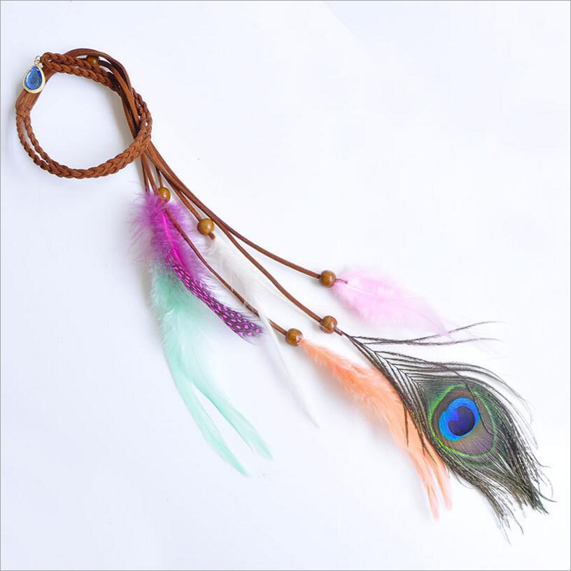 New ! Fashion Fine Jewelry Leather Rope Peacock Feather Beaded Crystal Two Uses Necklace & Head Rope For Women N-223