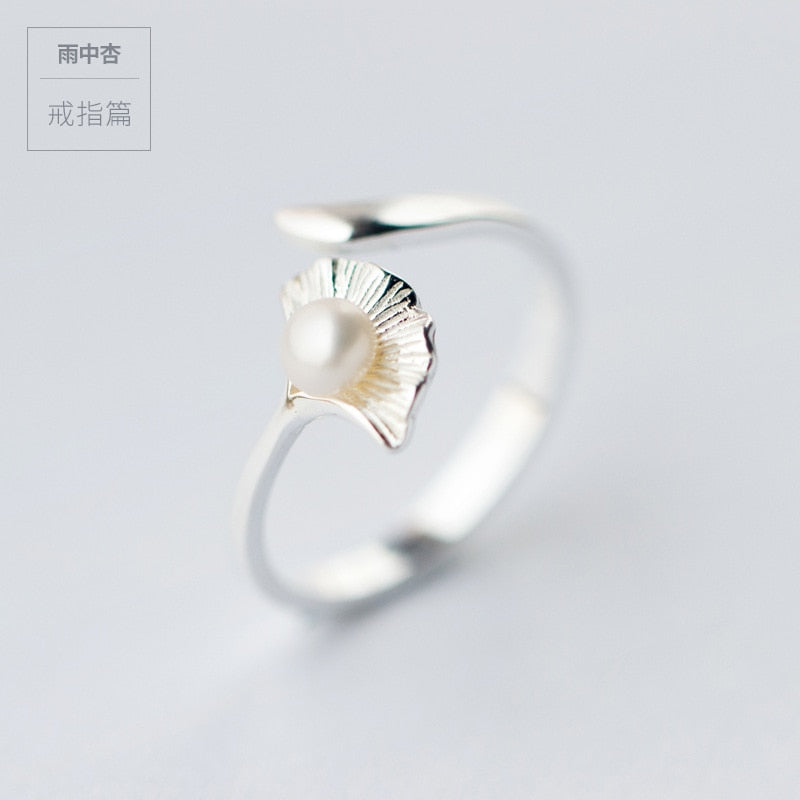 LADY'S Real. 925 Sterling Silver lEAF Jingko with white pearl Ring jewelry adjustable GTLJ1114