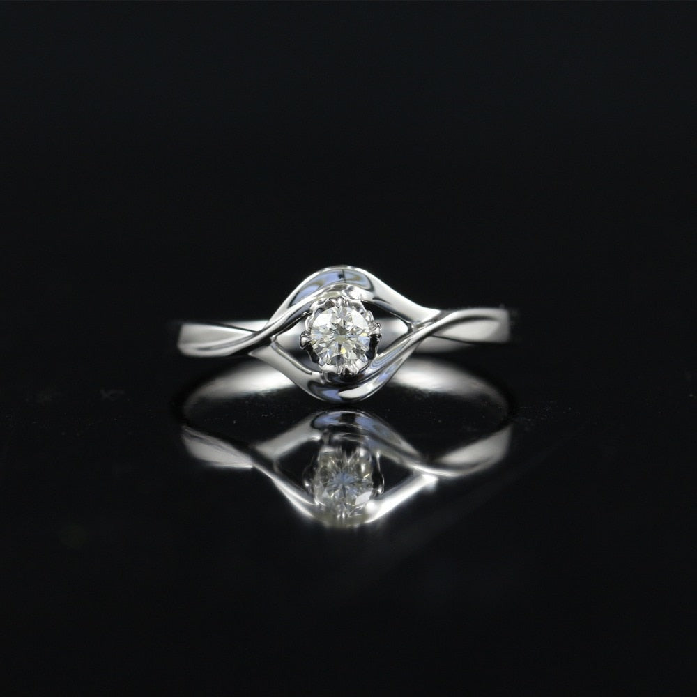 0. 117 CT IJ/SI Round Cut Modern Floral Natural Diamond Ring For Women 18k White Gold Certified Engagement Wedding Ring