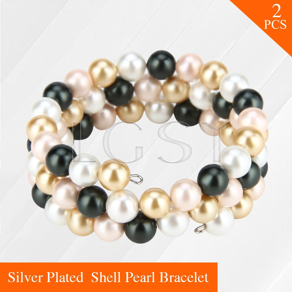 nice women hand jewelry adjustable wrap bracelet beards pearls strand bracelet 2pcs