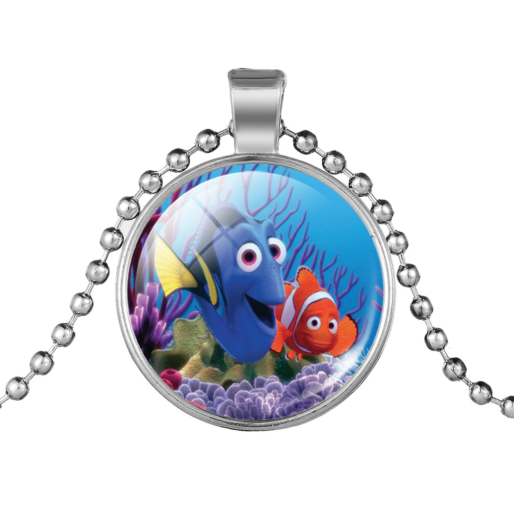 LIEBE ENGEL Cute Finding Dory Pendant Necklace Anime Movie Pattern Vintage Silver Color Chain Statement Necklace Women Choker