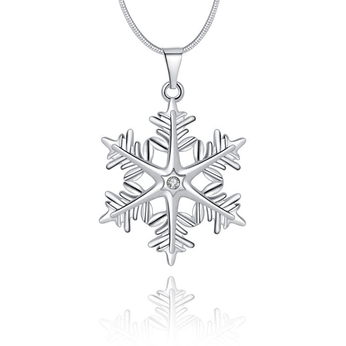 Fashion Snowflake Silver Necklace Chain Women Long Crystal Necklaces Pendants Female Silver Color Jewelry Accessories