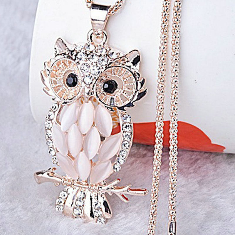 Charming bordered Alloy Opal Pendant Women choker Lady Girl Owl Pendant Necklace Long Sweater Necklace