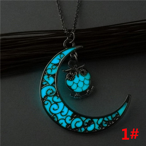 Luminous Owl Necklace Pendant Hollow Long Silver Chain Link Sweater Necklace Clothes Accessories Chocker Collier Femme