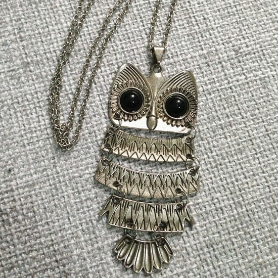 Women Sweater Chain Necklace Owl Design Rhinestones Crystal Pendant Necklaces Jewelry Clothing Accessories Drop Shipping