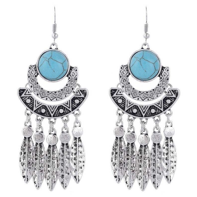 Fashion Bohemian Drop Long Tassel Earrings For Women Blue Stone Boho Jewelry Antique Silver Vintage Earrings bijoux