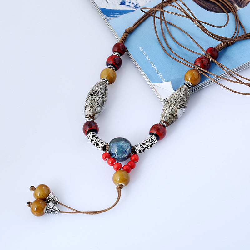 Fashion Bohemian Ethnic Long Necklace Collar Pareja Maxi Ceramic Necklace For Women Collier Fine Jewelry