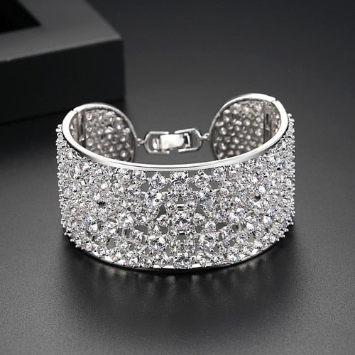 LUOTEEMI Luxurious Jewelry Inay Many Cubic Zirconia Statement Bangle&Bracelet for Women Bride Wedding Party Accessories Gift