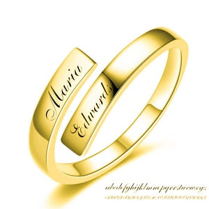 Engraved Name Couple Ring 925 Sterling Silver Gold Color Simple Open F