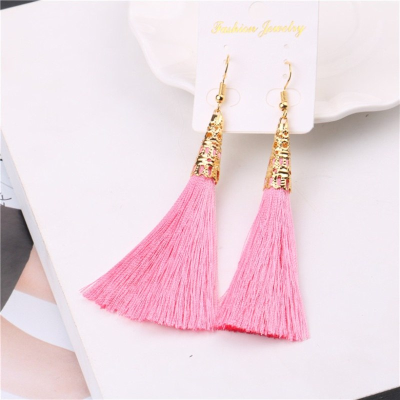 LZHLQ Ethnic Long Cotton Tassel Earrings Women 2017 Fashion Brand Jewelry Bohemian Bride Earrings Geometric Hollow Alloy Dangle