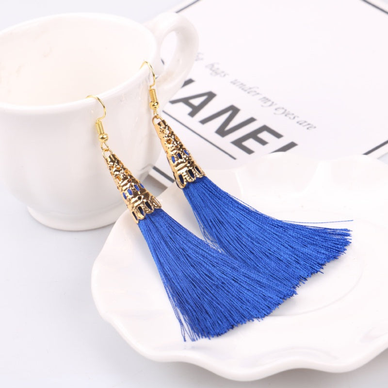 LZHLQ Ethnic Long Cotton Tassel Earrings Women 2020 Fashion Brand Jewelry Bohemian Bride Earrings Geometric Hollow Alloy Dangle