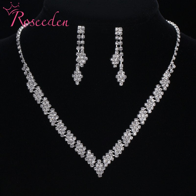 Limited Real Plant simple design wedding jewelry set bride crystal V-Necklace Dangle Earrings Set RE879