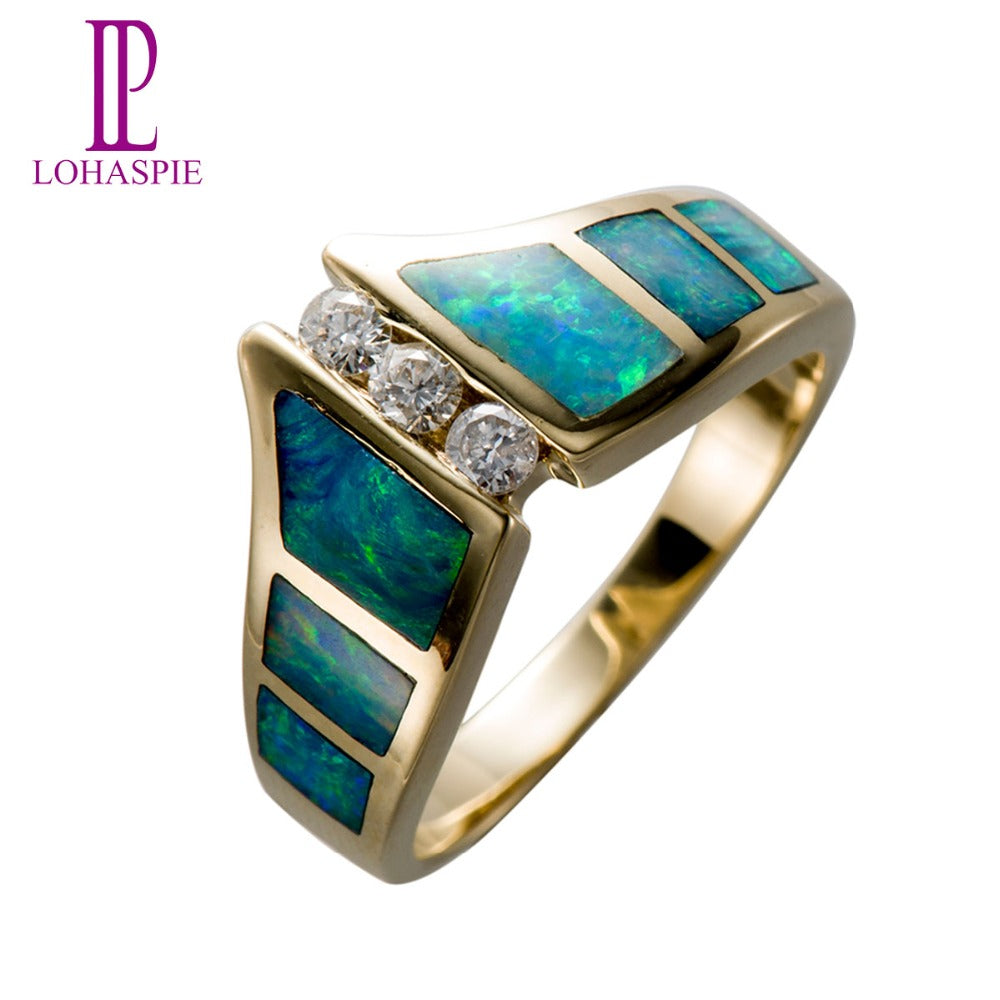 Lohaspie Natural Diamond & Opal Solid 14K Yellow Gold Wedding Band Rings Vintage Fine Jewelry For Women Gift