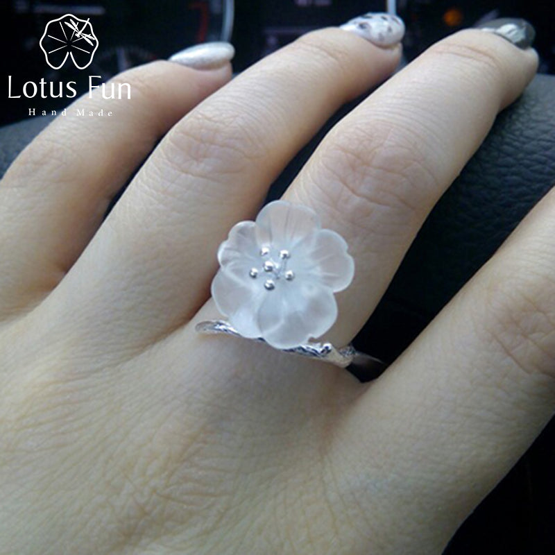 925 Sterling Silver Rings for Women Natural Handmade Fine Jewelry Flower in the Rain Open Engagement Ring for Female