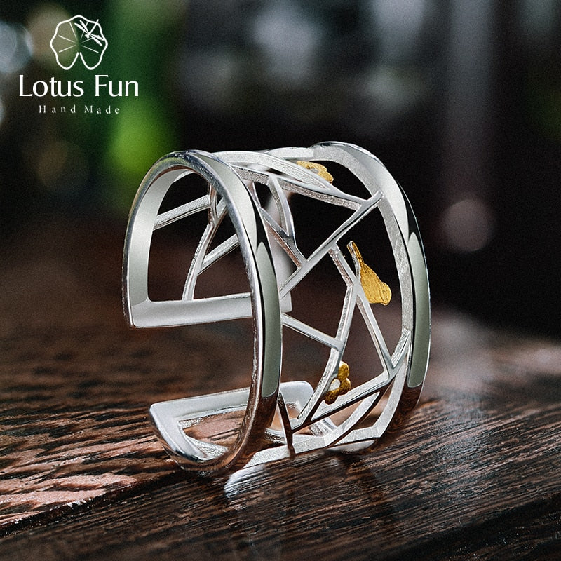 Real 925 Sterling Silver Handmade Fine Jewelry Oriental Element Window Decoration Paper-cut Design Rings For Women