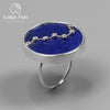 Real 925 Sterling Silver Natural Blue Lapis Handmade Fine Jewelry Queen of Night The Big Dipper Rings For Women