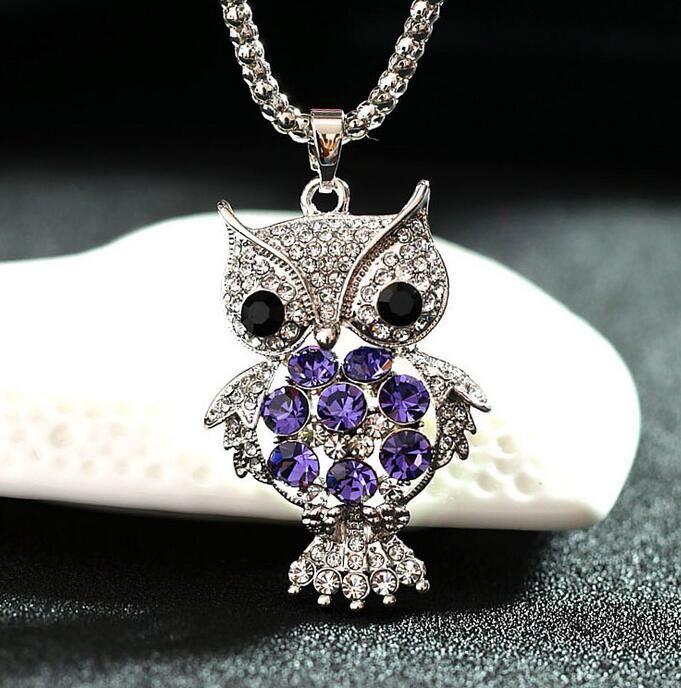Lovely Little Owl Necklace Pendants Silver Rhinestone Necklace Women Long Chain Necklaces Girl Jewelry Gifts