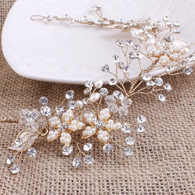 Luxurious Gold And Silver Color Wedding Bridal Vine Tiara Crown Wedding Bride Hair Jewelry Accessories For Women Hair Ornaments